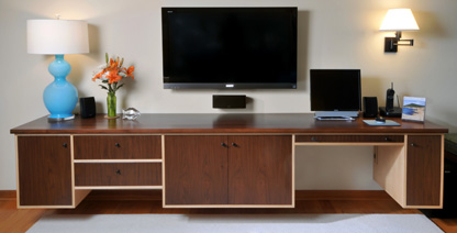 Williamsville, NY - Detail of Custom Walnut and Maple Credenza